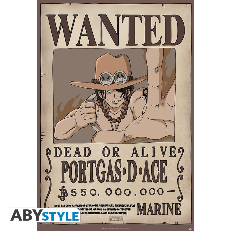 One Piece Poster Wanted Ace (91.5x61)